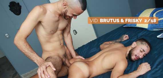 El video comienza con Brutus y Frisky besándose. Frisky atiende a Brutus, y Brutus se monta a Frisky antes de follarlo en diferentes posiciones.